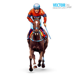 Jockey on horse. Champion. Horse racing. Hippodrome. Racetrack. Jump racetrack. Horse riding. Racing horse coming first to finish line. Isolated on white background. Vector illustration.