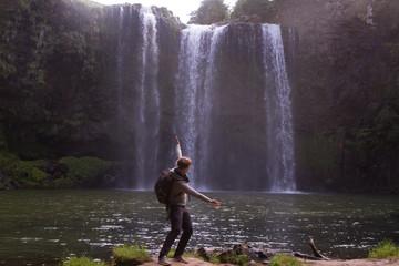 girl waterfall