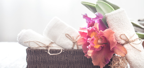Spa items with orchid