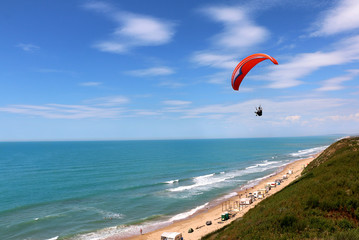 paragliding on the beach