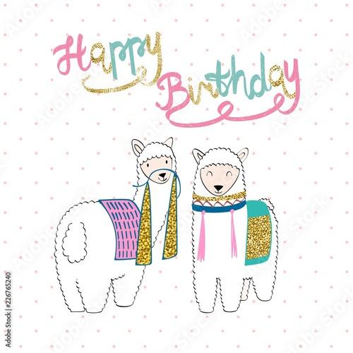 Hand Drawn Card With Llama Happy Birthday Fichier Vectoriel Libre