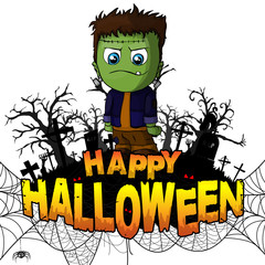 Happy Halloween Design template with Frankenstein on white isolated background. Vector illustration.