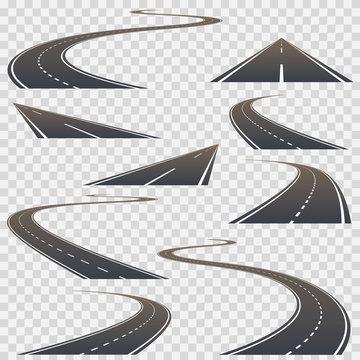 Road set collection on a transparent background. Vector illustration