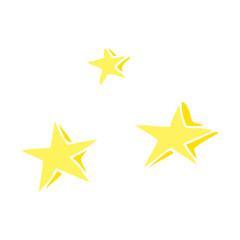flat color illustration of a cartoon decorative stars doodle