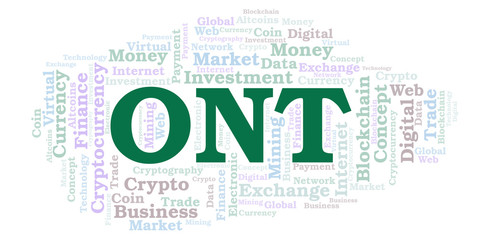 ONT or Ontology cryptocurrency coin word cloud.