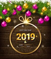 2019 New Year greeting illustration.