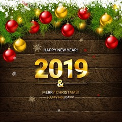 2019 vector background with christmas
