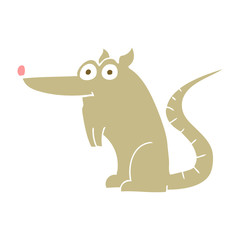 flat color illustration of a cartoon rat