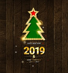 Vector illustration of Happy New Year 2019