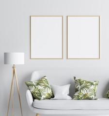 Mock up in living room background, Scandinavian style, 3d render