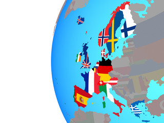 Western Europe with embedded national flags on blue political globe.