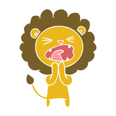 flat color style cartoon lion praying