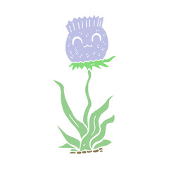 flat color style cartoon thistle
