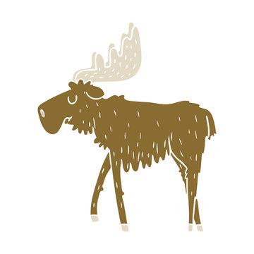 flat color style cartoon moose