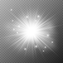 Glow light effect. Star burst with sparkles. Sun.