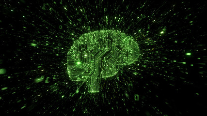 Exploding green digital brain representing A.I.
