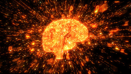 Exploding data orange brain computer circuit