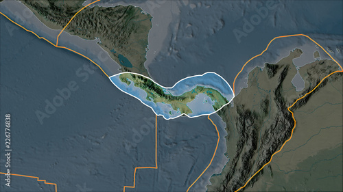 Topographic Map Of Panama.Outlined Panama Tectonic Plate On The Topographic Map Separated By