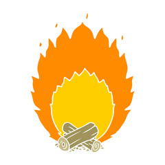 flat color style cartoon blazing camp fire