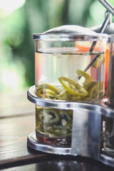 pickled chilli or chili in vinegar ,Sour and spicy test.