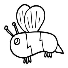 line drawing cartoon fat bee