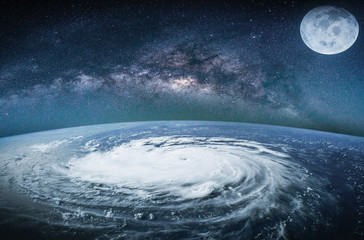 Wall Mural - Landscape with Milky way galaxy. Earth view from space with Milky way galaxy. (Elements of this image furnished by NASA)