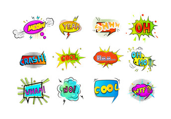 Set of colorful retro comic speech bubble