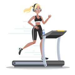 Woman in sportswear training on the treadmill
