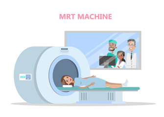 MRI process. Young woman lying in the machine