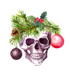 Christmas skull with conifer twigs, mistletoe, decorative balls. Watercolor in grunge style