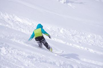 Fototapeta glisse hiver - snowboard en poudreuse obraz