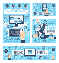 Online e-commerce and mobile shopping