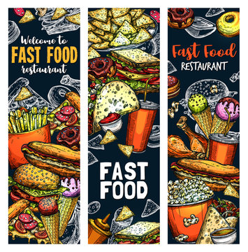 Fastfood burgers and sandwiches food vector sketch