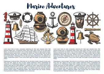 Marine adventure, vector nautical objects