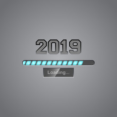 Neon progress bar showing loading of 2019 New Year. Vector.