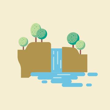 Waterfall landscape in flat style