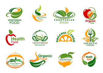 Vegetarian and vegan organic food icons
