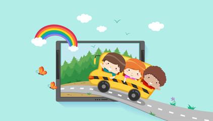 Kids Virtual Field Trip Laptop Illustration