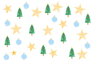 Fondo navideño de pinos, estrellas y bolas de navidad azules.