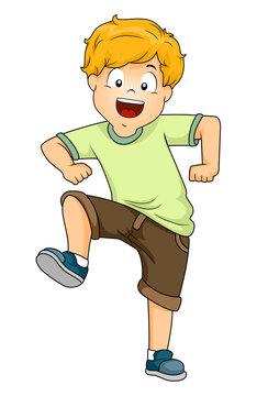 Kid Boy Stomping Illustration