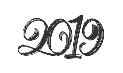 Happy New Year. Vector Handwritten textured brush type lettering of 2019 on white background. Chines calligraphy.