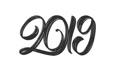 Happy New Year. Vector Handwritten textured brush lettering of 2019 on white background. Chines calligraphy.