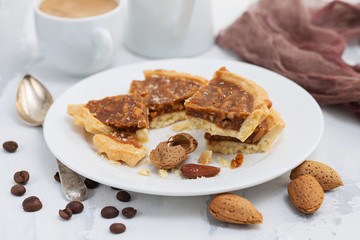almond tart in small plate