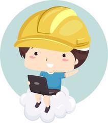 Kid Boy Cloud Engineer Illustration