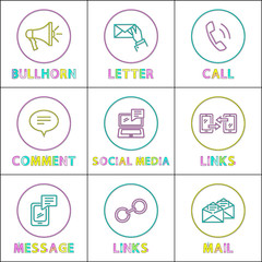 Social Media and Internet Round Linear Icons Set