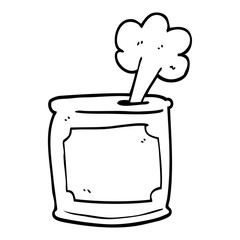 line drawing cartoon can of food being opened
