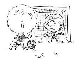 Illustratie met zwarte lijnen van een jongen met een voetbal