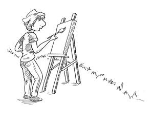 Illustratie met zwarte lijnen van een schilder