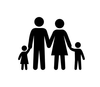 Family Black Silhouette Icon Vector Illustration