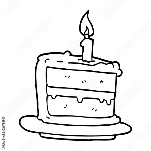 Line Drawing Cartoon Birthday Cake Stock Image And Royalty Free